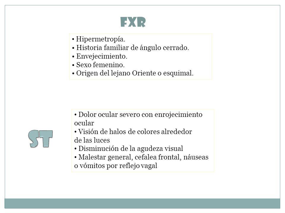 St FxR Hipermetropía. • Historia familiar de ángulo cerrado.