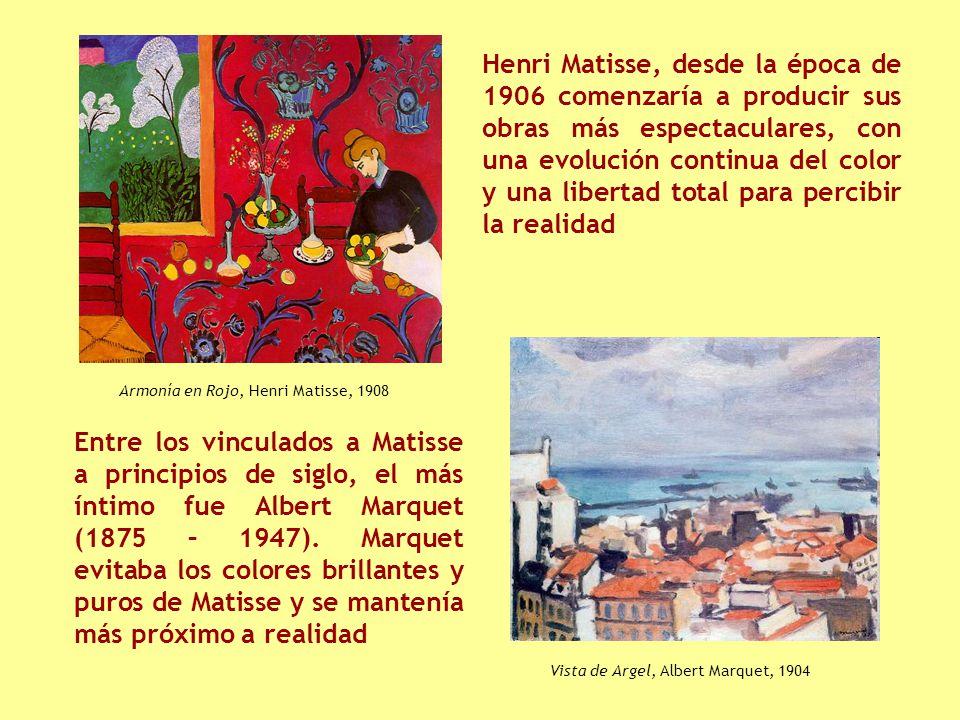 Henri Matisse, desde la época de 1906 comenzaría a producir sus obras más espectaculares, con una evolución continua del color y una libertad total para percibir la realidad