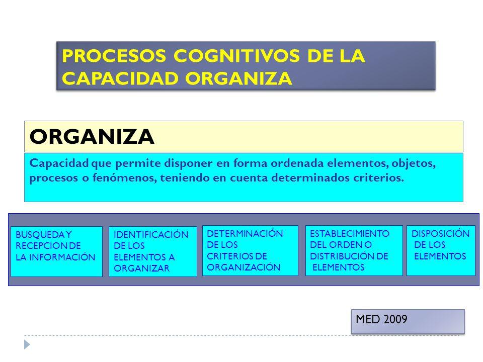 ORGANIZA PROCESOS COGNITIVOS DE LA CAPACIDAD ORGANIZA