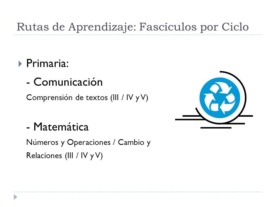 Rutas de Aprendizaje: Fascículos por Ciclo