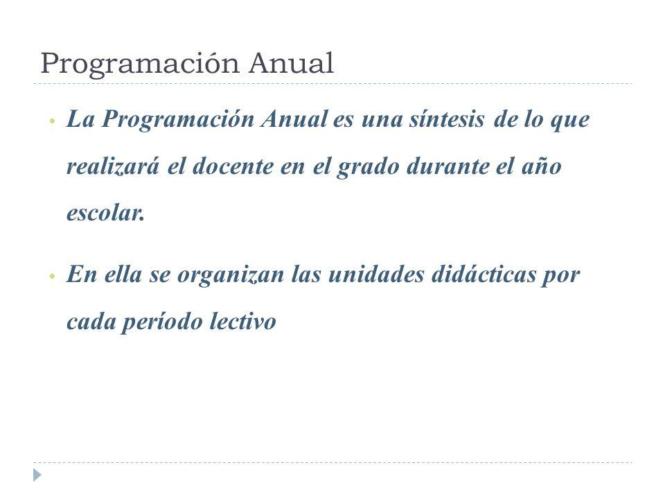Programación Anual La Programación Anual es una síntesis de lo que realizará el docente en el grado durante el año escolar.