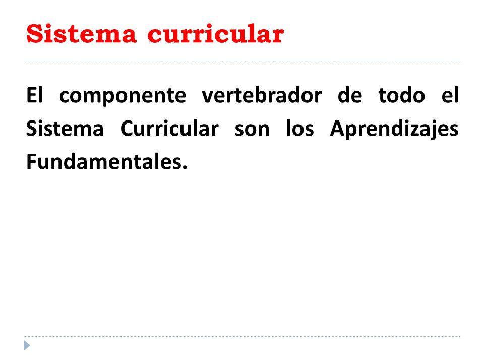 Sistema curricular El componente vertebrador de todo el Sistema Curricular son los Aprendizajes Fundamentales.