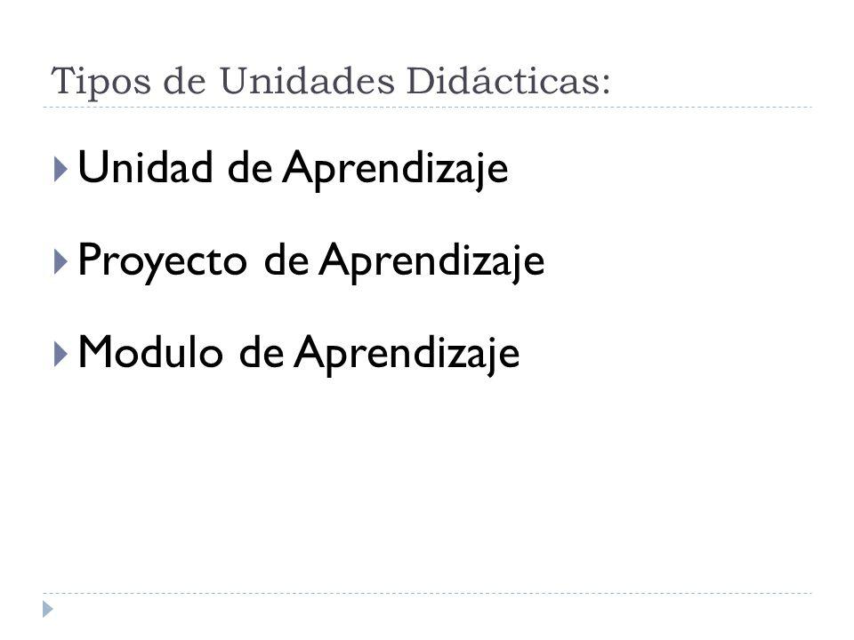 Tipos de Unidades Didácticas: