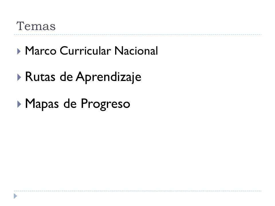 Temas Marco Curricular Nacional Rutas de Aprendizaje Mapas de Progreso