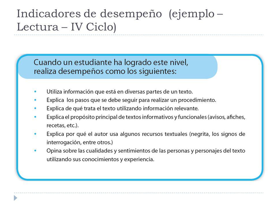 Indicadores de desempeño (ejemplo – Lectura – IV Ciclo)