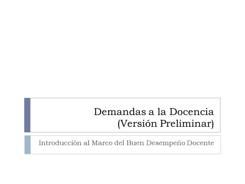 Demandas a la Docencia (Versión Preliminar)