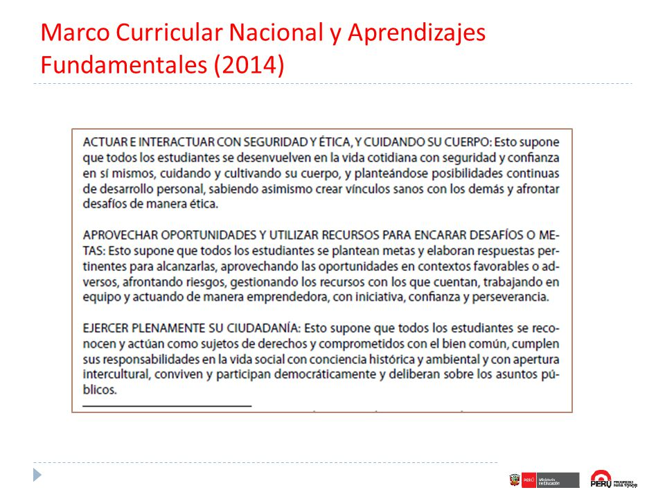 Marco Curricular Nacional y Aprendizajes Fundamentales (2014)