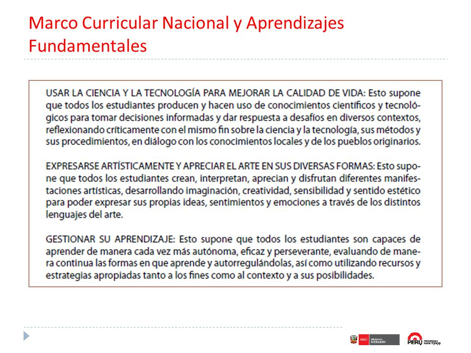 Marco Curricular Nacional y Aprendizajes Fundamentales