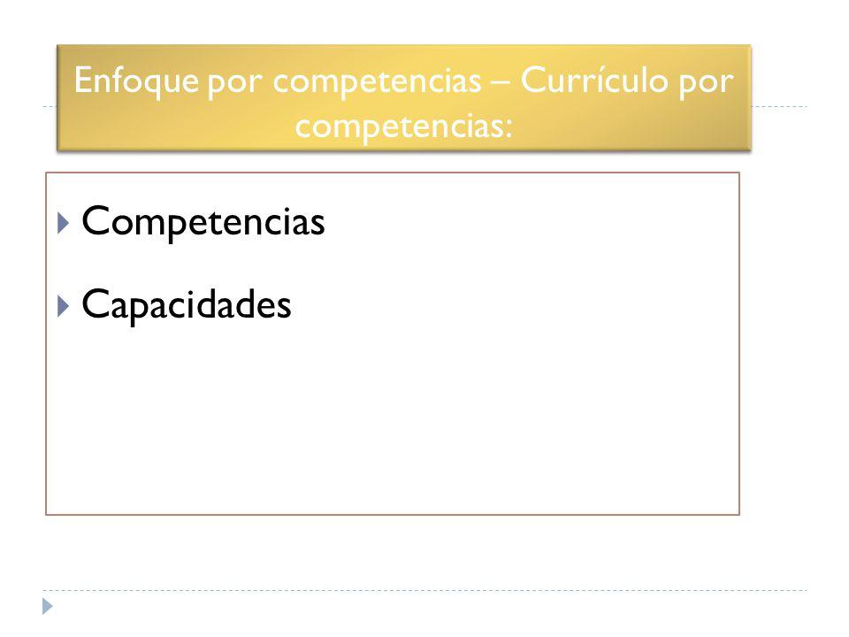 Enfoque por competencias – Currículo por competencias: