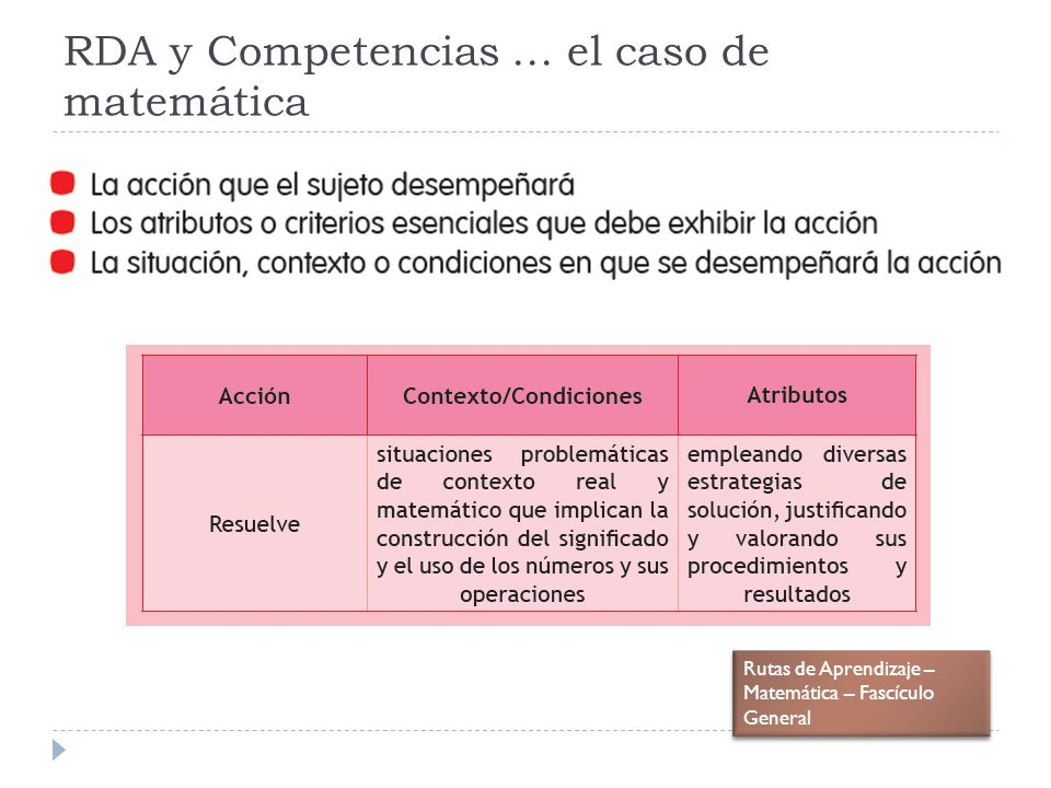RDA y Competencias … el caso de matemática