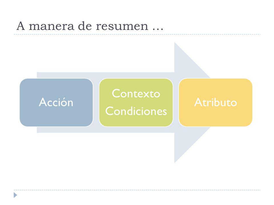 A manera de resumen … Acción Contexto Condiciones Atributo