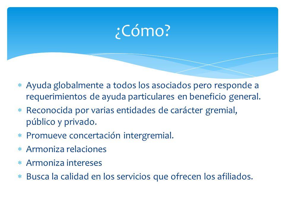 ¿Cómo Ayuda globalmente a todos los asociados pero responde a requerimientos de ayuda particulares en beneficio general.