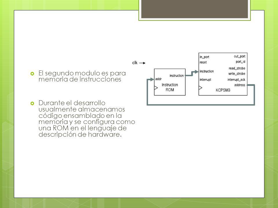 El segundo modulo es para la memoria de instrucciones