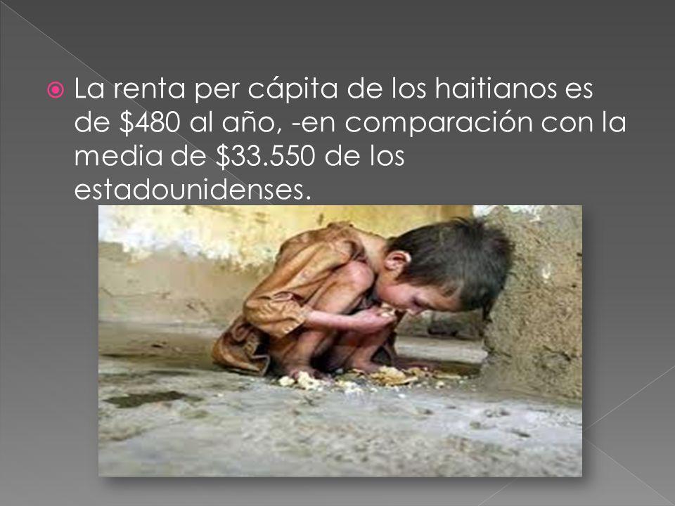 La renta per cápita de los haitianos es de $480 al año, -en comparación con la media de $33.550 de los estadounidenses.