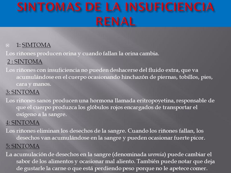 SINTOMAS DE LA INSUFICIENCIA RENAL