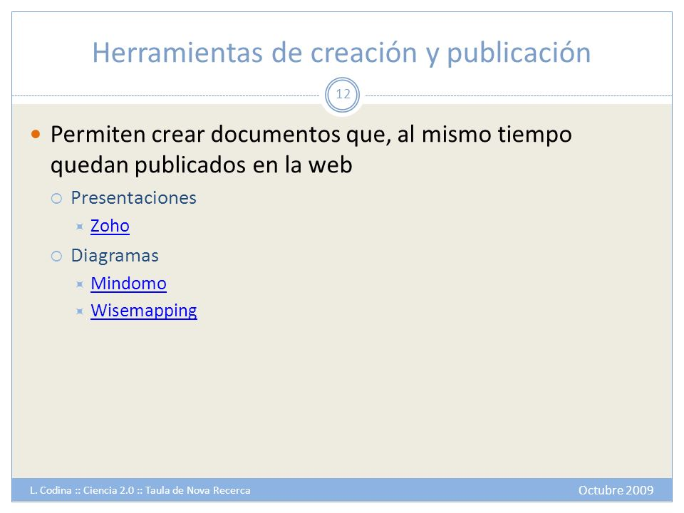 Herramientas de creación y publicación