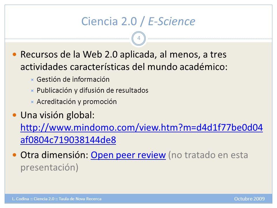 Ciencia 2.0 / E-Science Recursos de la Web 2.0 aplicada, al menos, a tres actividades características del mundo académico: