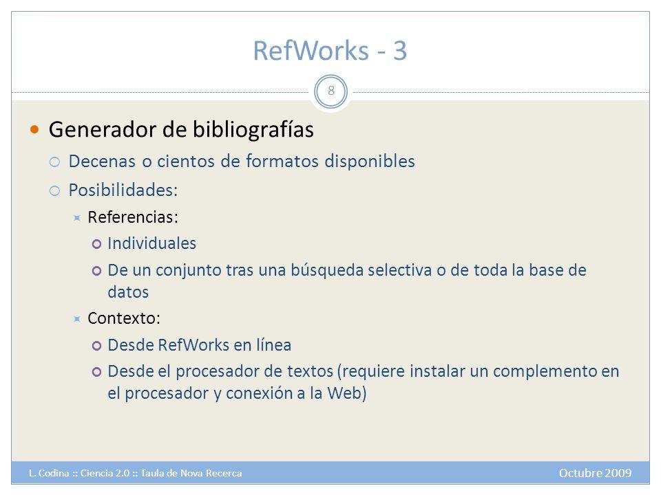 RefWorks - 3 Generador de bibliografías