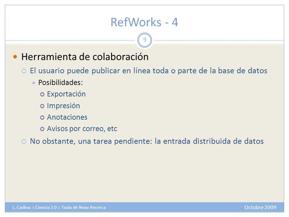 RefWorks - 4 Herramienta de colaboración