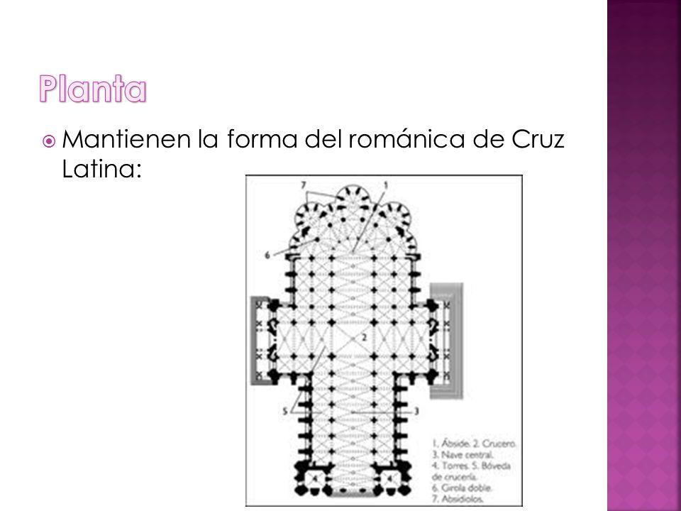 Planta Mantienen la forma del románica de Cruz Latina: