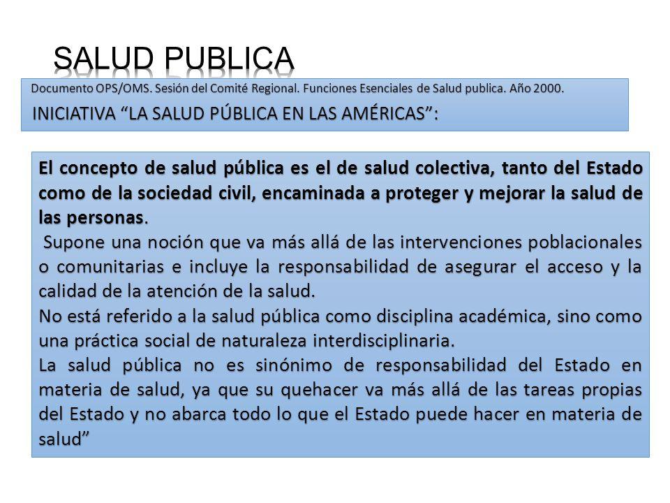 SALUD PUBLICA Documento OPS/OMS. Sesión del Comité Regional. Funciones Esenciales de Salud publica. Año 2000.