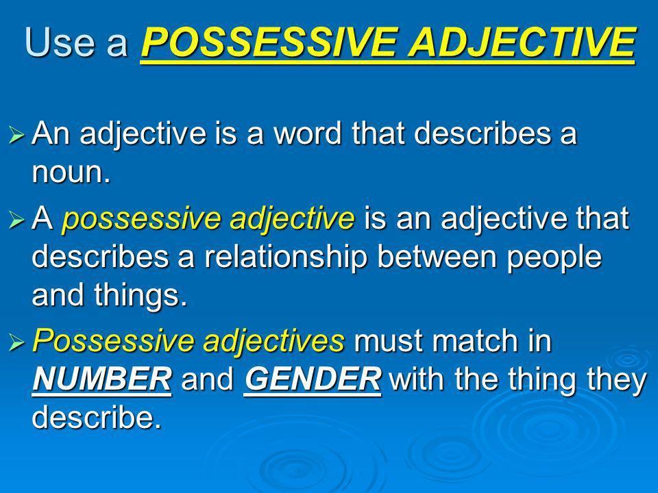 Use a POSSESSIVE ADJECTIVE
