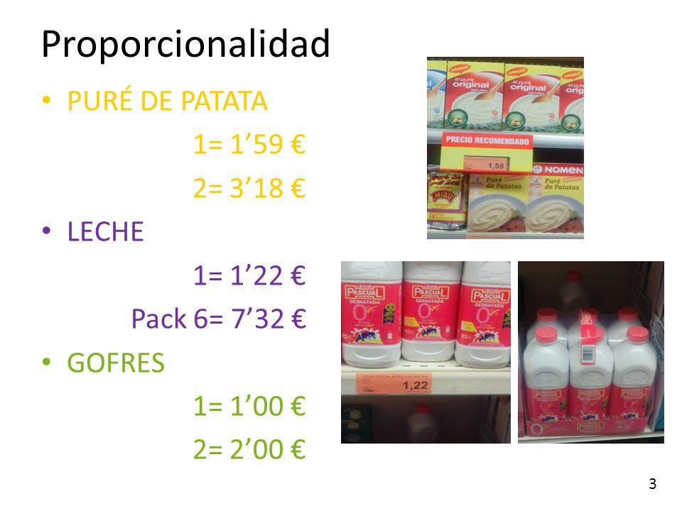 Proporcionalidad PURÉ DE PATATA 1= 1'59 € 2= 3'18 € LECHE 1= 1'22 €