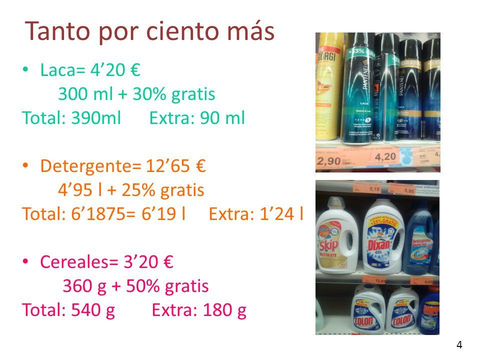 Tanto por ciento más Laca= 4'20 € 300 ml + 30% gratis