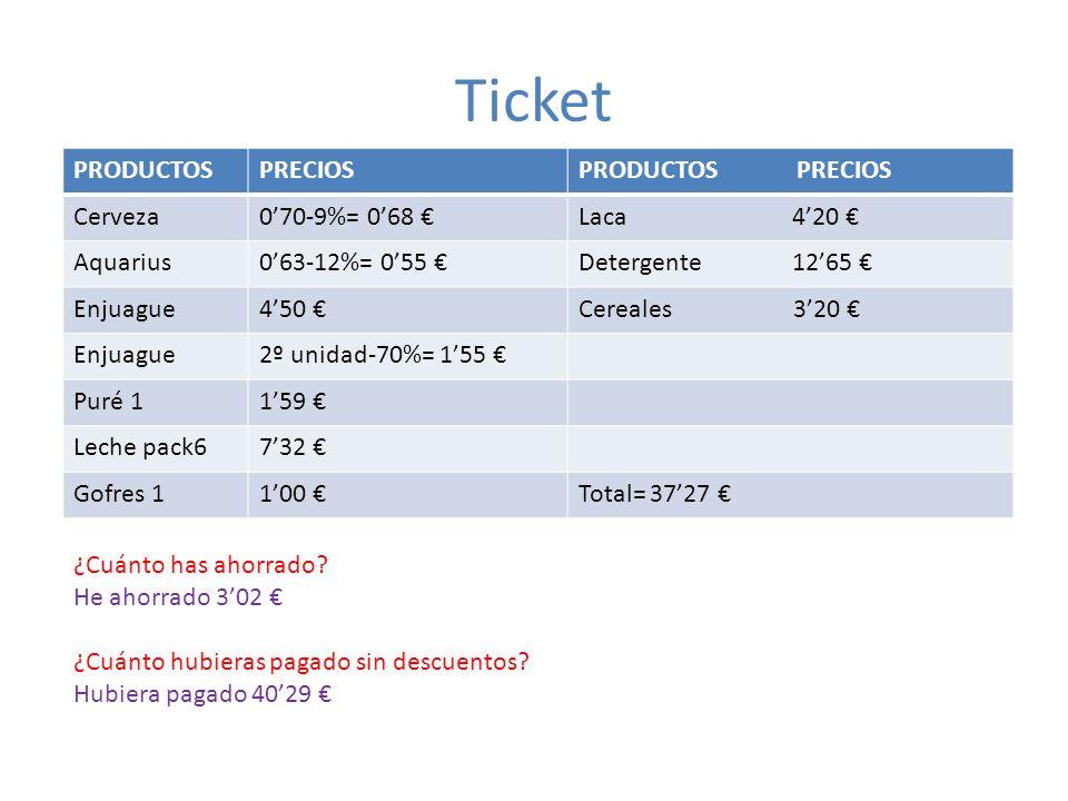 Ticket PRODUCTOS PRECIOS PRODUCTOS PRECIOS Cerveza 0'70-9%= 0'68 €