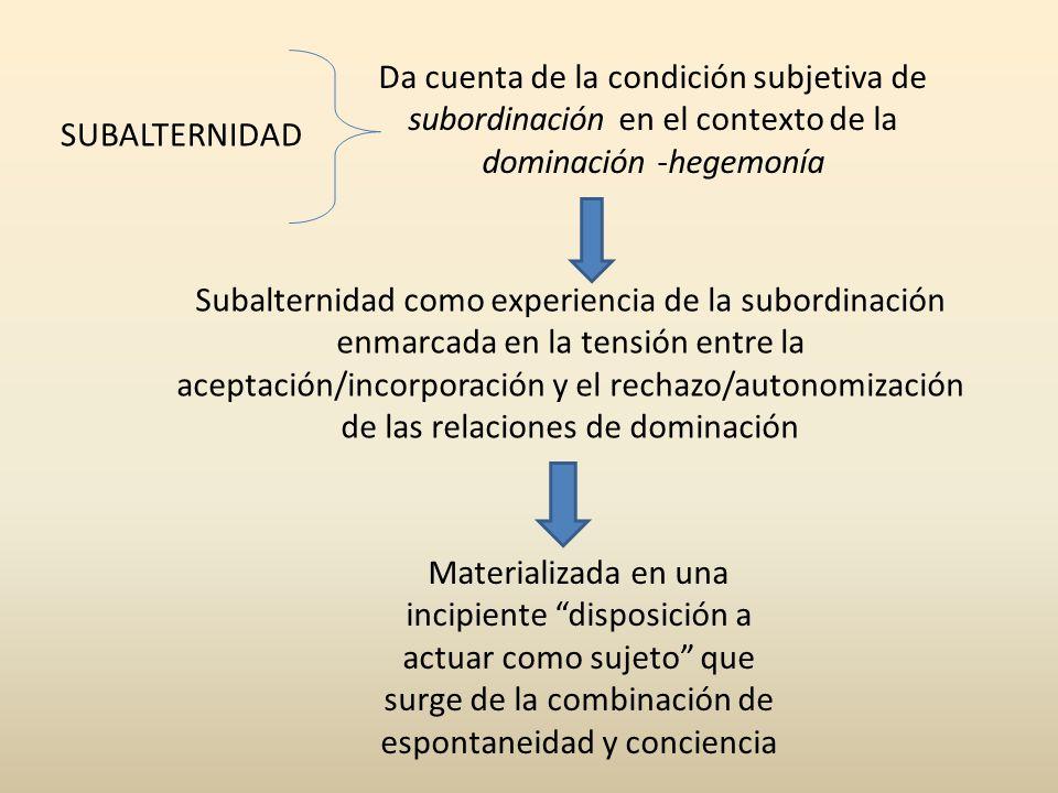 Da cuenta de la condición subjetiva de subordinación en el contexto de la dominación -hegemonía