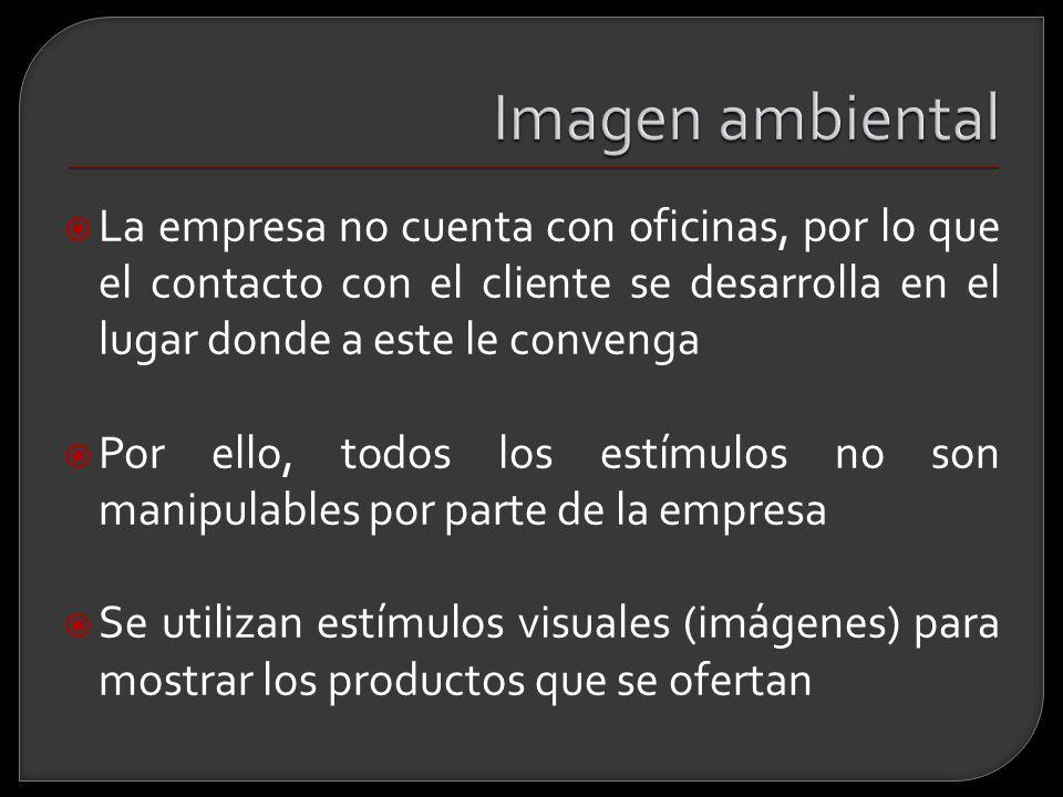 Imagen ambiental La empresa no cuenta con oficinas, por lo que el contacto con el cliente se desarrolla en el lugar donde a este le convenga.