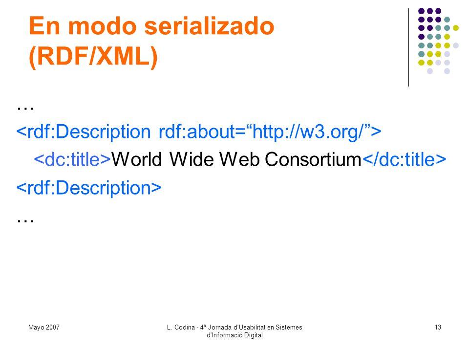 En modo serializado (RDF/XML)