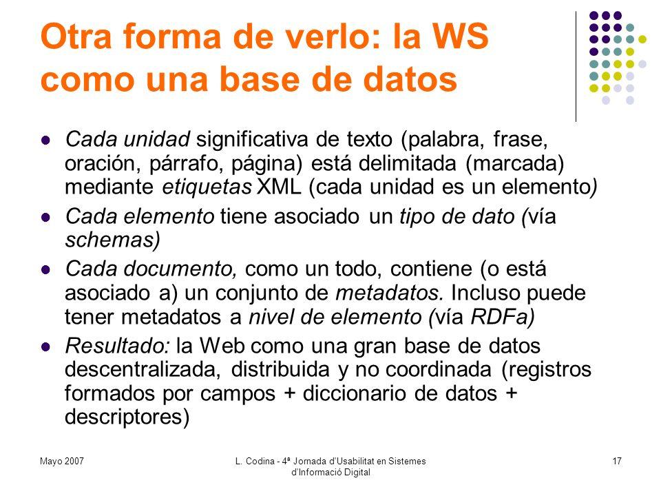 Otra forma de verlo: la WS como una base de datos