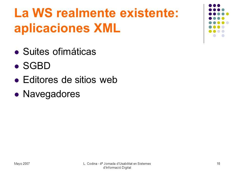 La WS realmente existente: aplicaciones XML