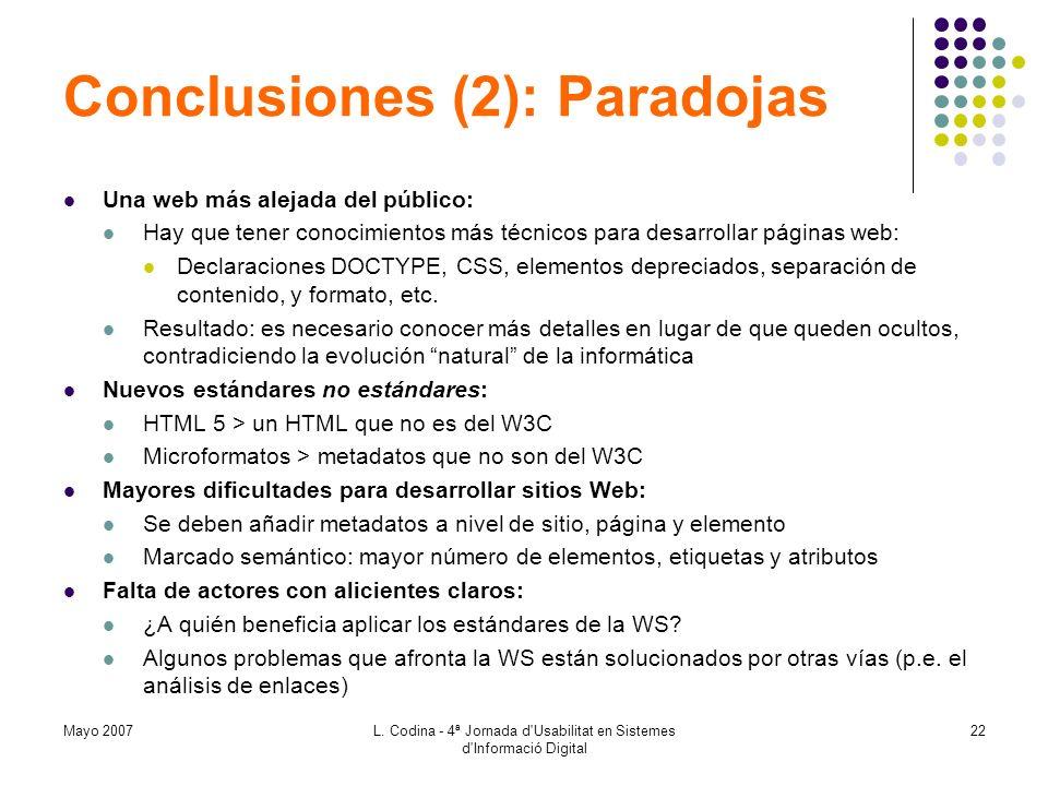 Conclusiones (2): Paradojas