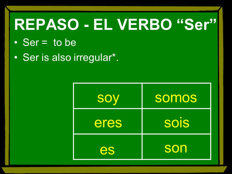 Ser = to be Ser is also irregular*. soy somos eres sois son es