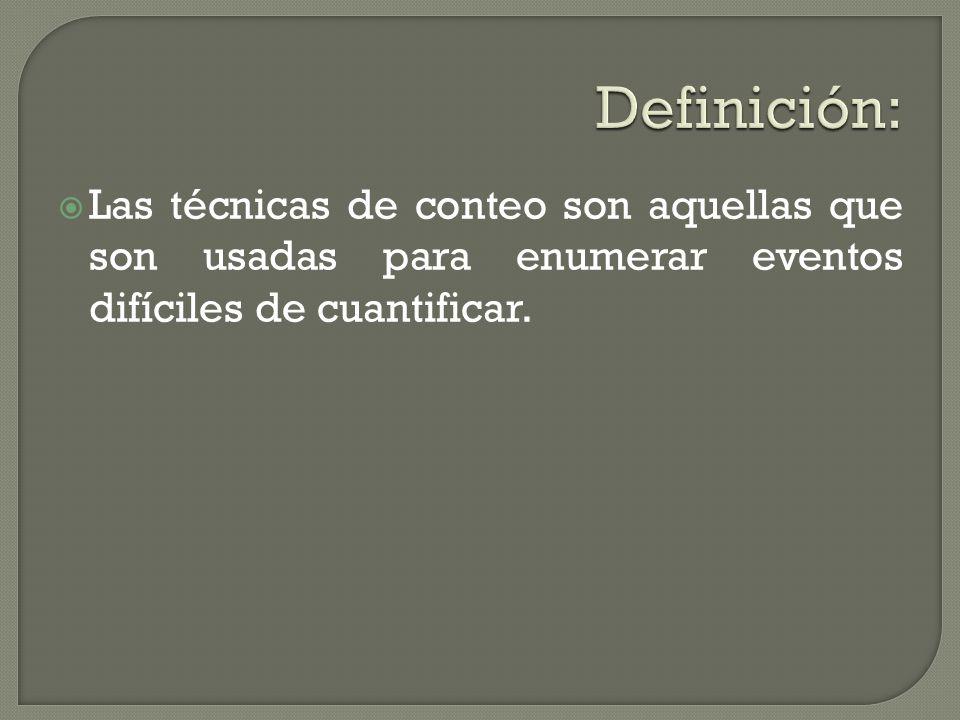 Definición: Las técnicas de conteo son aquellas que son usadas para enumerar eventos difíciles de cuantificar.
