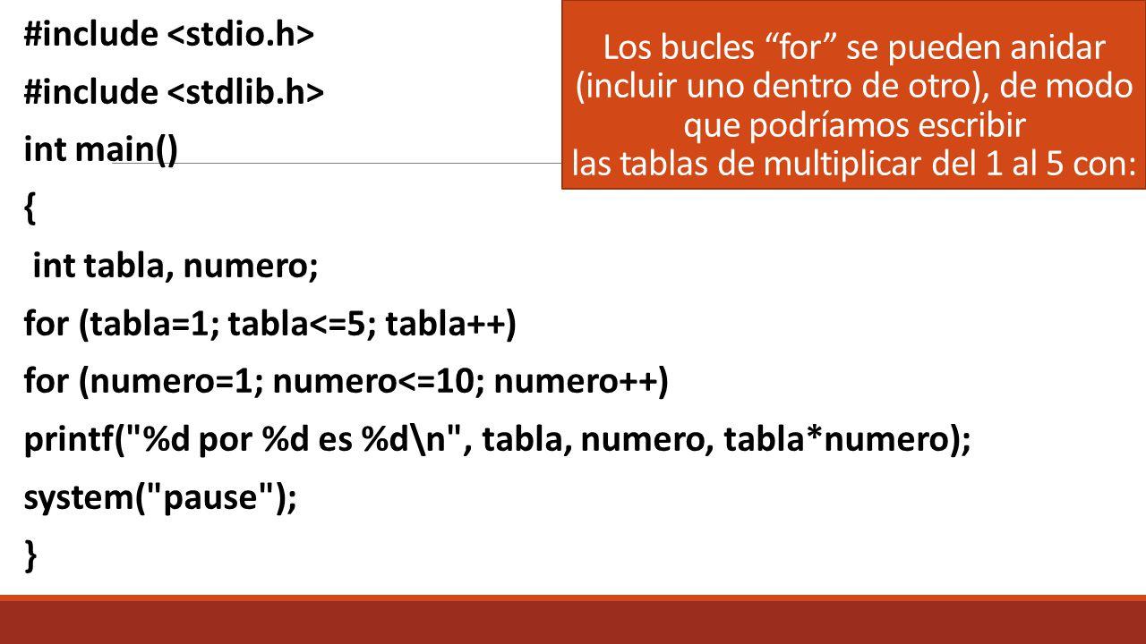 Los bucles for se pueden anidar (incluir uno dentro de otro), de modo que podríamos escribir las tablas de multiplicar del 1 al 5 con: