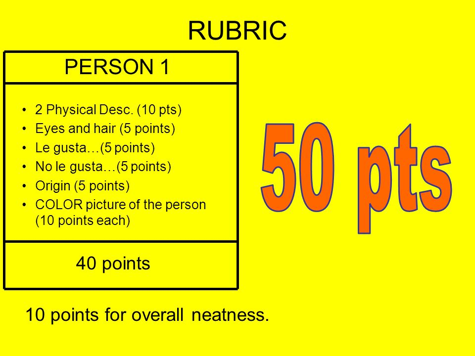RUBRIC 50 pts PERSON 1 40 points 10 points for overall neatness.