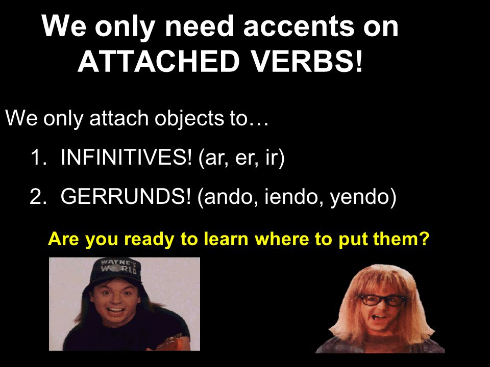 We only need accents on ATTACHED VERBS!