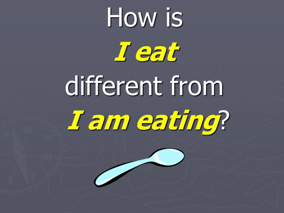 How is I eat different from I am eating