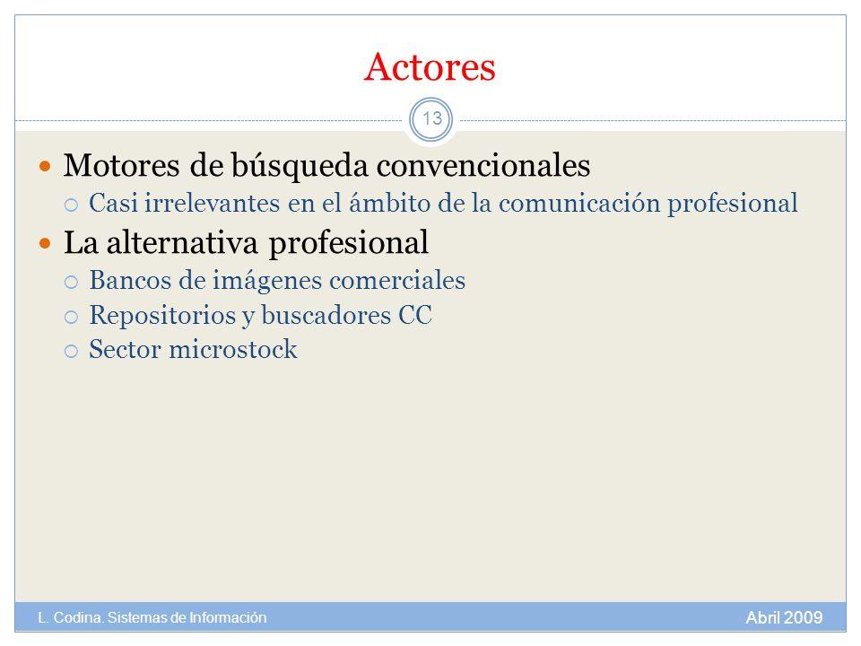 Actores Motores de búsqueda convencionales La alternativa profesional
