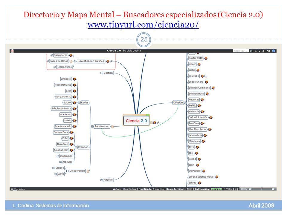 Directorio y Mapa Mental – Buscadores especializados (Ciencia 2.0) www.tinyurl.com/ciencia20/