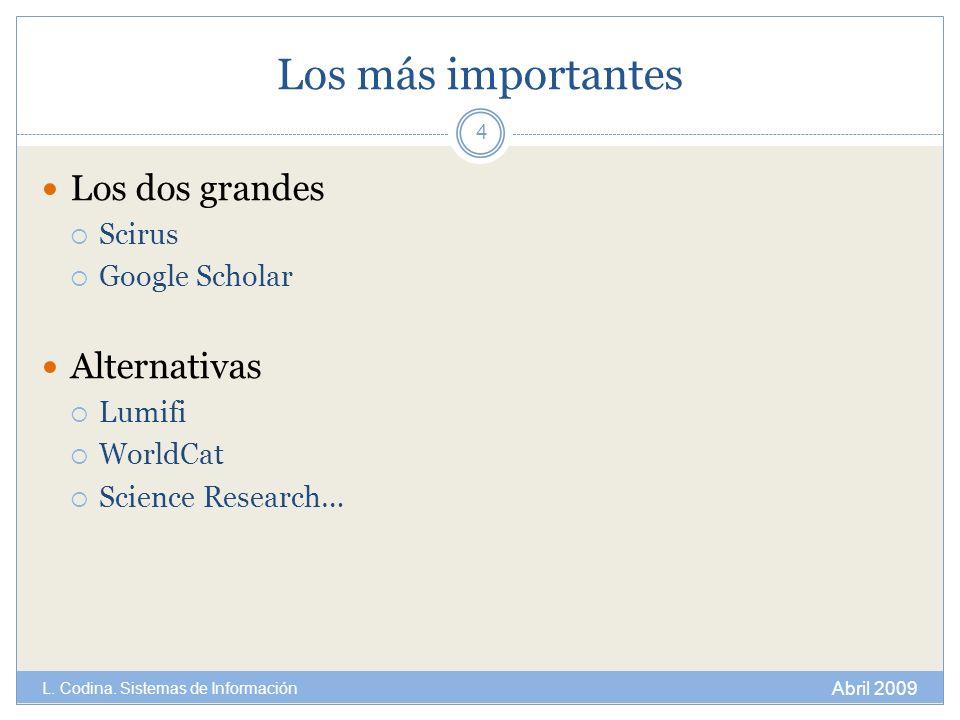 Los más importantes Los dos grandes Alternativas Scirus Google Scholar