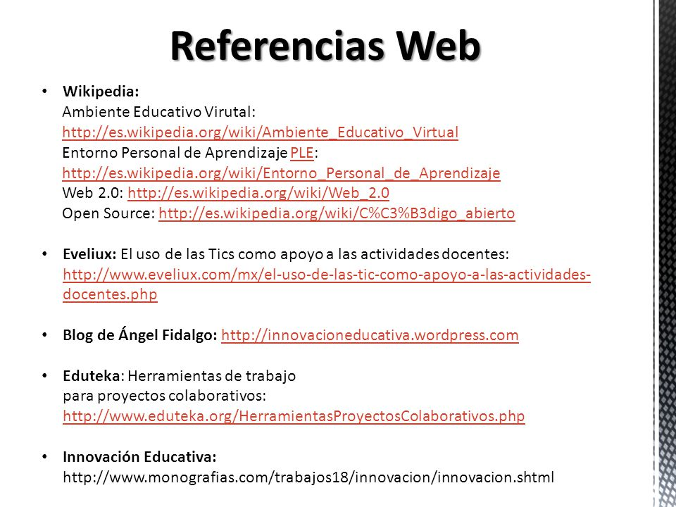 Referencias Web Wikipedia: