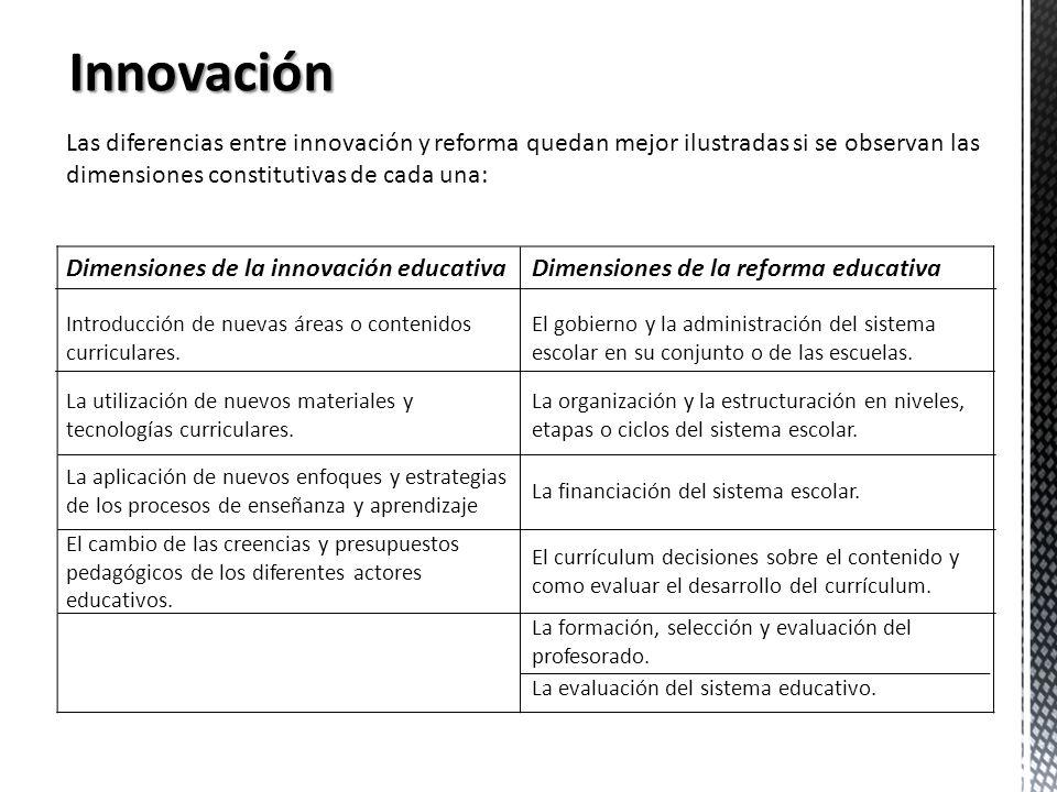 Innovación Las diferencias entre innovación y reforma quedan mejor ilustradas si se observan las dimensiones constitutivas de cada una: