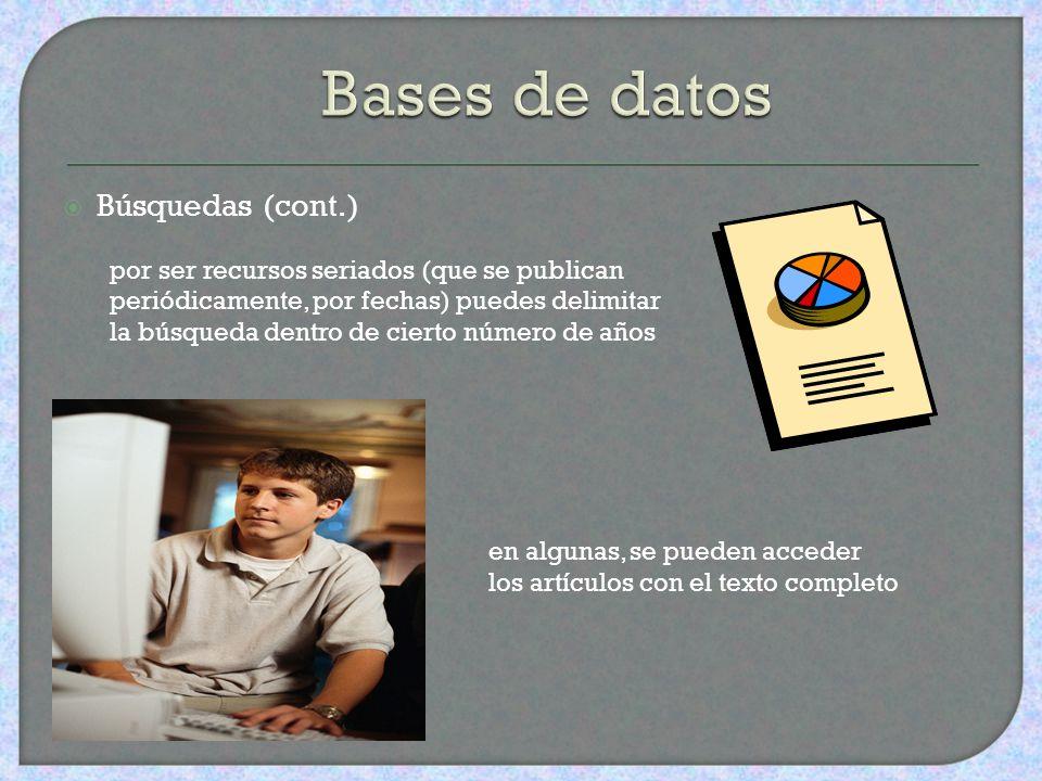 Bases de datos Búsquedas (cont.)