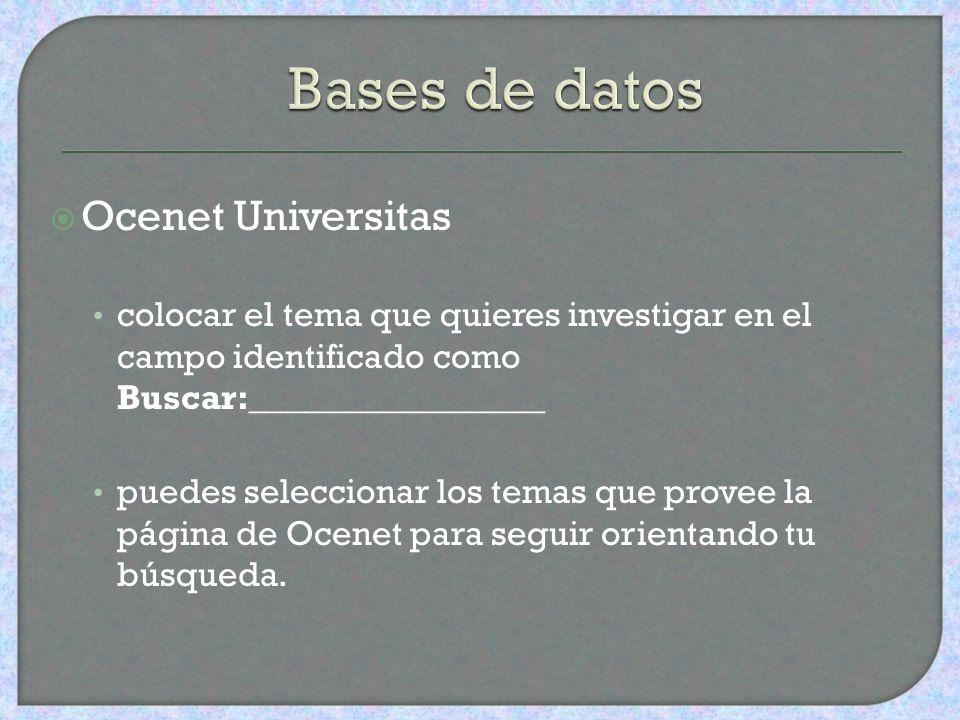 Bases de datos Ocenet Universitas