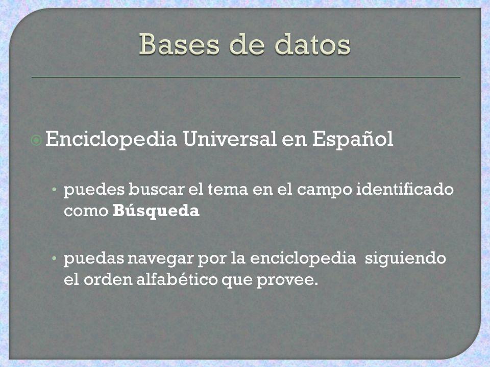 Bases de datos Enciclopedia Universal en Español