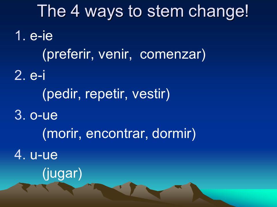 The 4 ways to stem change! e-ie e-i (preferir, venir, comenzar)